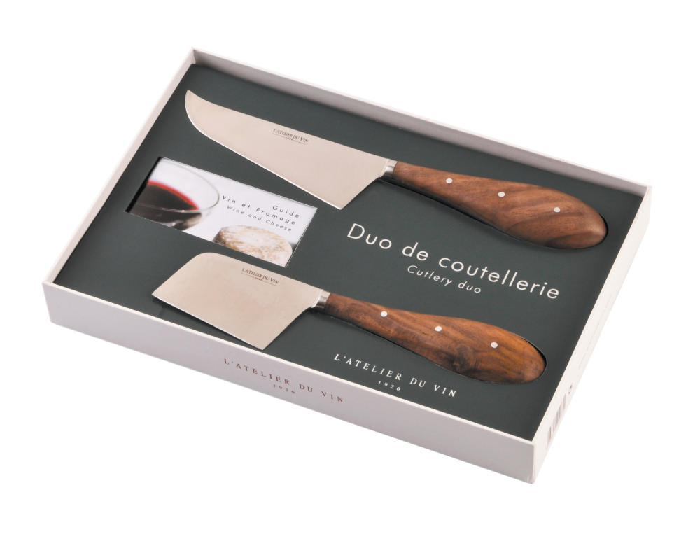 Cheese set Cutlery duo, 2 knives and guide book 095067