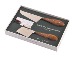 "Cheese set ""Cutlery duo"", 2 knives and guide book 095067"