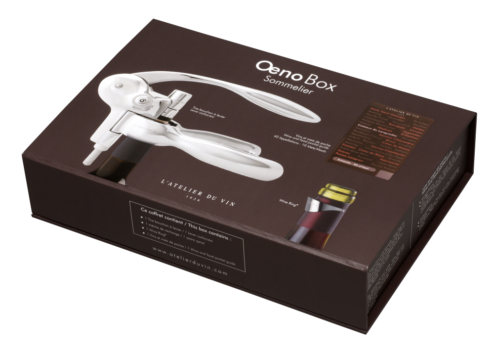 Giftset Oeno Box Sommelier: corkscrew in stainless steel and drop stop 095261